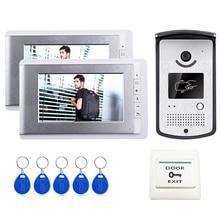 """ShippingHome libre 7 """"Video Portero Teléfono de La Puerta Sistema de 2 Monitores + Lector de Acceso RFID Cámara En Stock Por Mayor"""