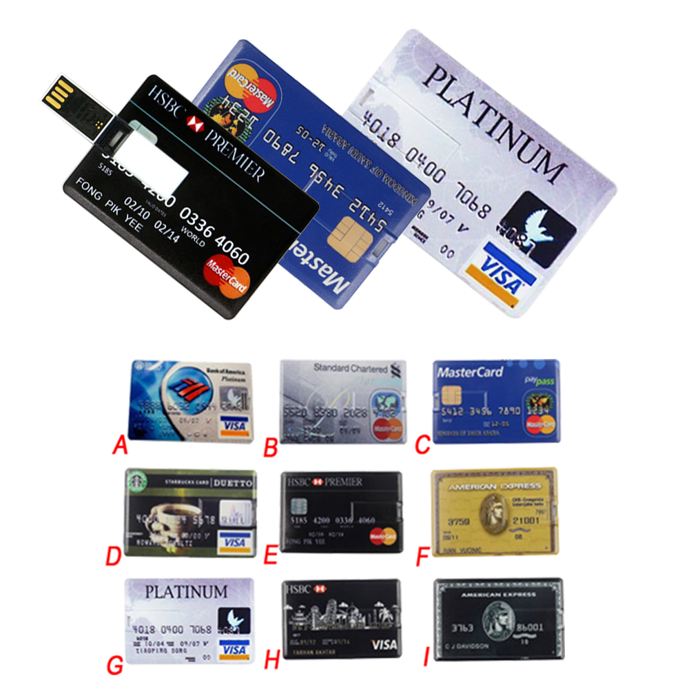 Bank Credit Card Waterproof USB Flash Drive 4GB/8GB/16GB/32GB/64GB pendrive memory stick usb 2.0 U disk Wholesale gift