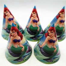 6pcs little mermaid party hats cap for kids birthday party supplies baby shower caroon theme mermaid party decoration favors set джемпер caroon