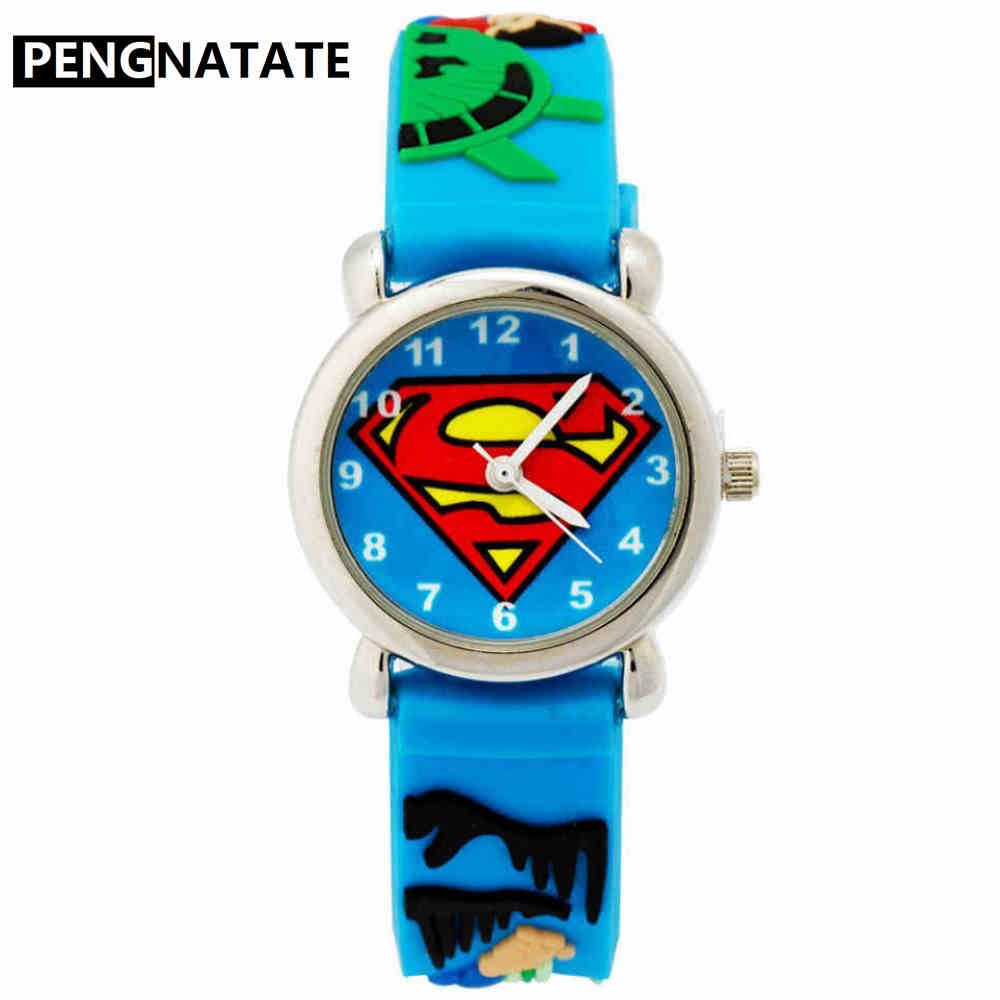 Watches Children Quartz Watches Fashion Cartoon Superman Kids Watch Boy Steel Belt Bracelet Wristwatch Student Girls Gift
