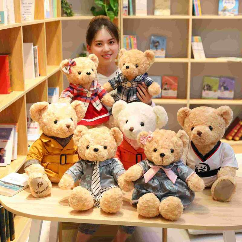New lovely 1PC 45cm 6Kinds New Teddy Bear Plush Toys With clothes Korean Dress Couple Teddy Bear Doll Girls Birthday Presents