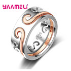 YAAMELI Luxury Couple Jewelry 925 sterling Silver Ring For Her Best Surprise Gift Simple Top Quality and Precious Engagement