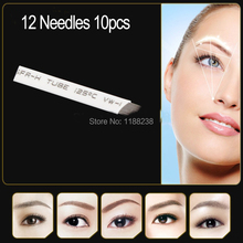 10pcs/lot Permanent Makeup Blade Manual Eyebrow Tattoo Curved 12 Needles Tattoo Supplies