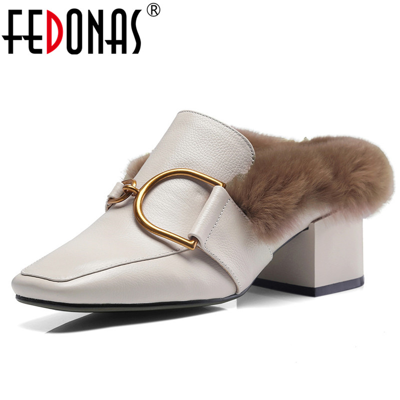 FEDONAS ファッションブランドパンプスバックル暖かい秋冬パーティー結婚式の靴女性ハイヒールスクエアトゥウェディングパンプスミュール靴  グループ上の 靴 からの レディースパンプス の中 1