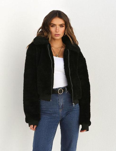17e0bfd6f28 2018 Winter Women Warm Teddy Bear Long Sleeve Fleece Jackets Crop Tops Zip  Up Punk Oversize Outwear Coats With Pockets