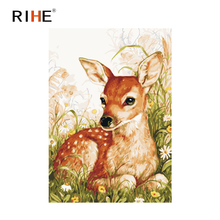 RIHE Sika Deer Diy Painting By Numbers Grassland Oil On Canvas Hand Painted Cuadros Decoracion Acrylic Paint Home Decor
