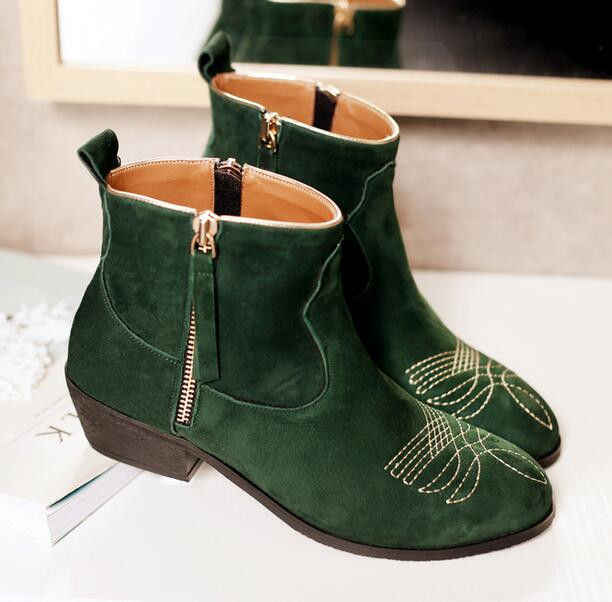 9402eaf2e Green Boots 2017 Newest Fashion Women Ankle Booties Celebrity Love Shoes  Retro Style Embroidery Suede Short Boot Thick Heel-in Ankle Boots from Shoes  on ...