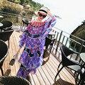 De alta Calidad de la Capa Vestido de La Mujer 2016 Runway floral Vestido Maxi Del Halter Impreso Bohemia Vestido Largo Holiday Beach Elegante Vestido de Capa