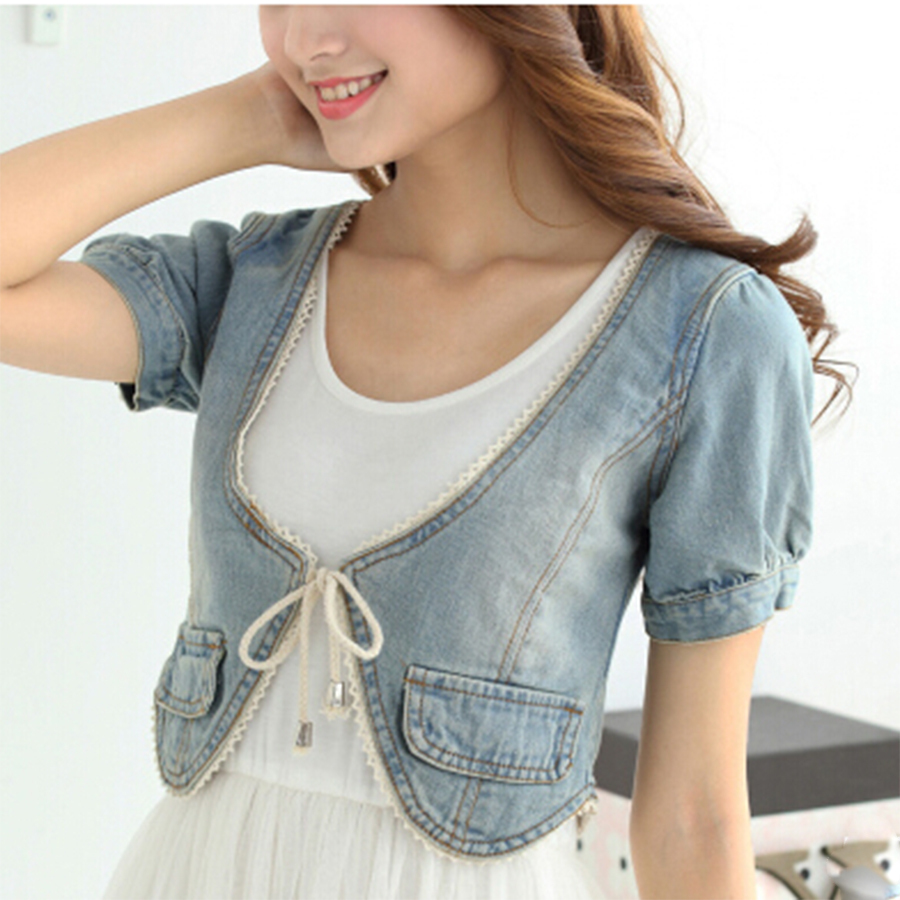 Compare Prices on Short Sleeve Cropped Denim Jacket- Online