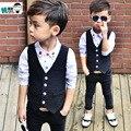 2016new детская весна свободного покроя костюмы мальчиков в розницу англия джентльмен стиль полосатый пиджак жилет + брюки 2 шт. комплект для свадьбы ну вечеринку