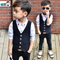 2016new children's spring casual suits boys retail England gentleman style striped blazer vest+pants 2 pcs set for wedding party