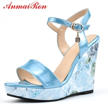 ANMAIRON  PU Basic Casual Woman Sandals 2019 Summer Buckle Strap Women Fashion High Heel Wedges Size 35-41 LY916