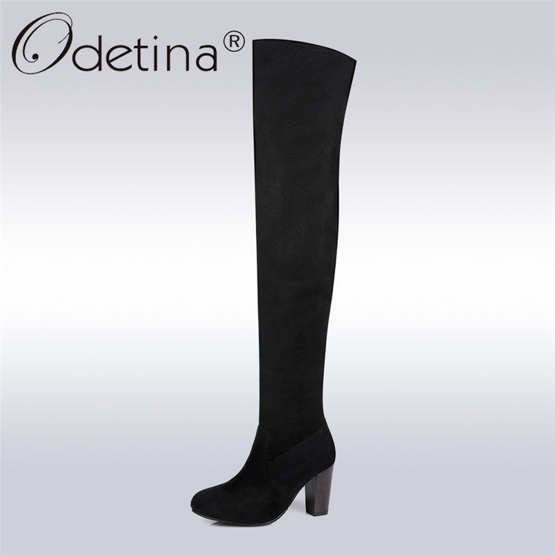 Odetina 2017 New Fashion Women's Faux Suede Thigh High Boots Warm Block High Heel Over The Knee Boots Winter Shoes Plus Size 43 odetina 2017 new fashion autumn winter women thigh high boots blue denim over the knee boots high block heel shoes plus size 43