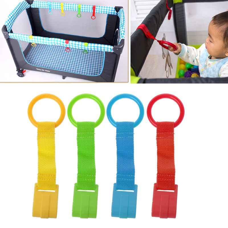 Baby Bed Portable Crib Stand Up Multi-color Wake Up Hook Pull Ring Foldable Pendants Toys Travel Non-toxic