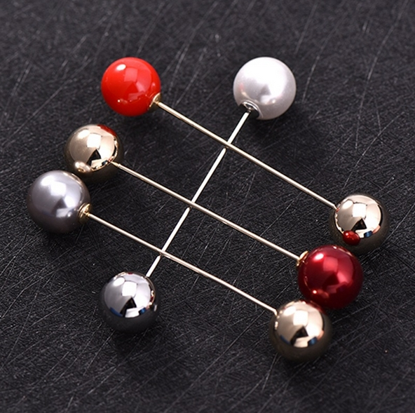 new 4 pieces/set Simple design metal word size pearl brooch pin simple pin brooch scarf shawl buckle female cardigan accessory