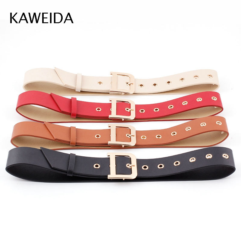 KAWEIDA 2018 High Quality Women Fashion 4.8 Cm Wide PU Leather Waist   Belt   Letter D Pin Buckle Casual Cinto for Dress Cummerbunds