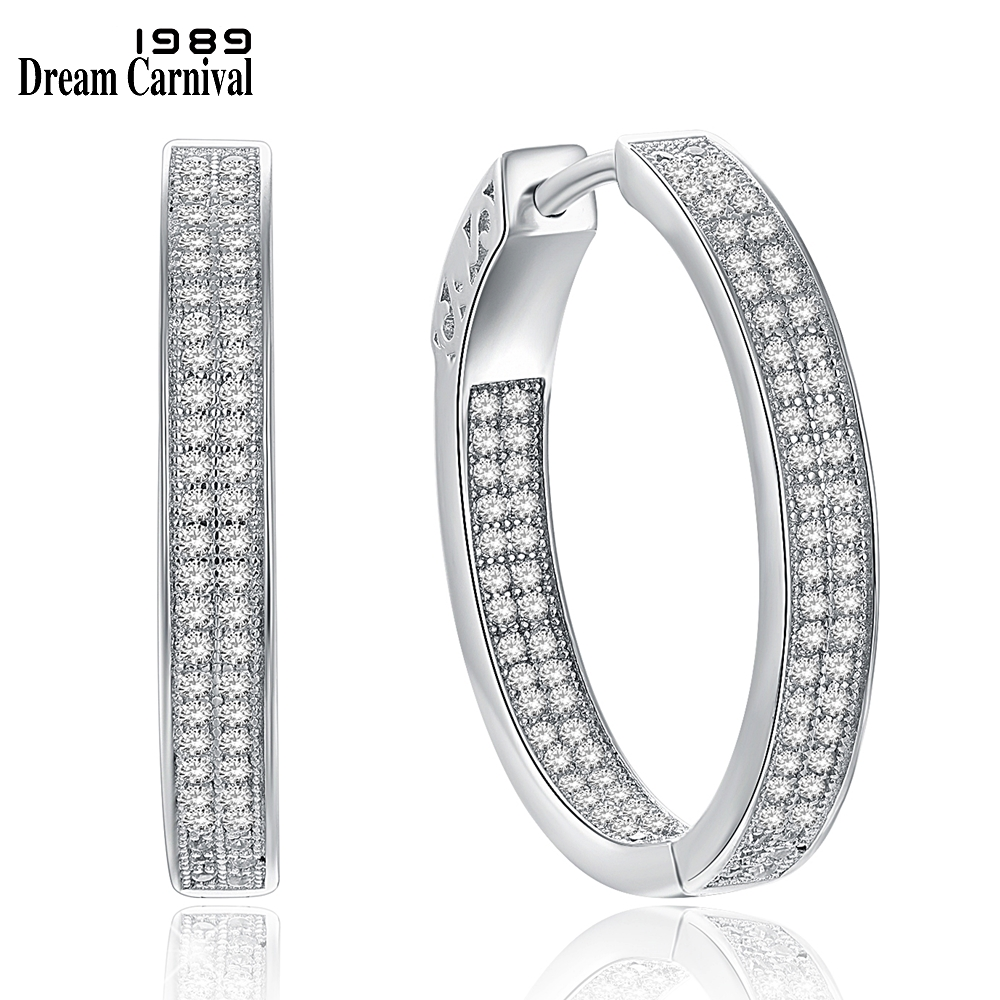 DreamCarnival1989 Women Sterling Silver Earirngs Big Hoop 25mm Wedding Anniversary Party Must Have Zirconia Jewelry SE18939R
