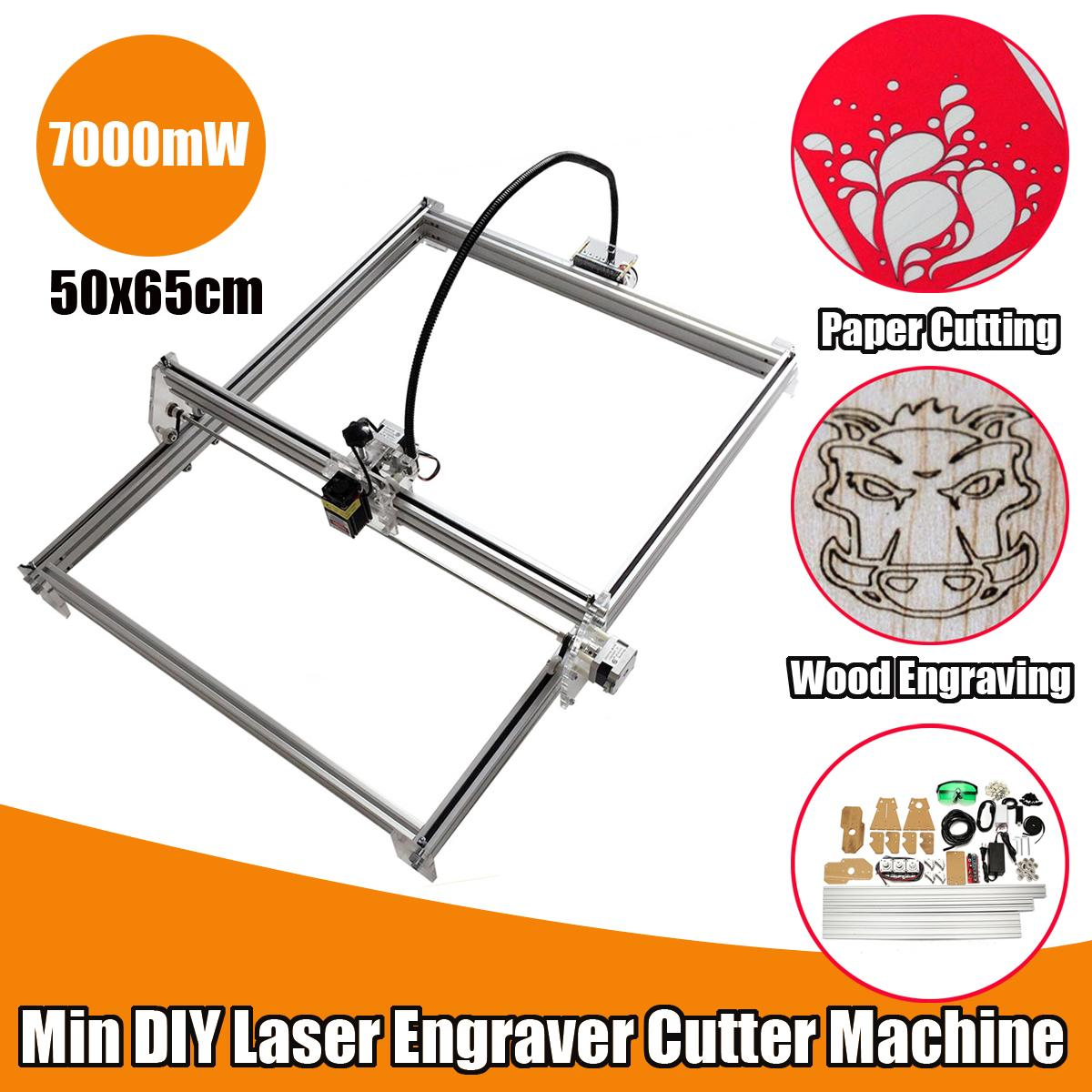 DC 12V 7000mW 65x50cm Mini Blue Laser Cutting/Engraving Engraver Machine DIY Desktop Wood Cutter Power Adjustable +Laser Goggles laser wood cutter wood laser cutting machine laser cutting rocking horse