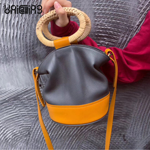 UNICALLING quality bucket handbag women genuine leather small makeup bag girls casual tote shoulder