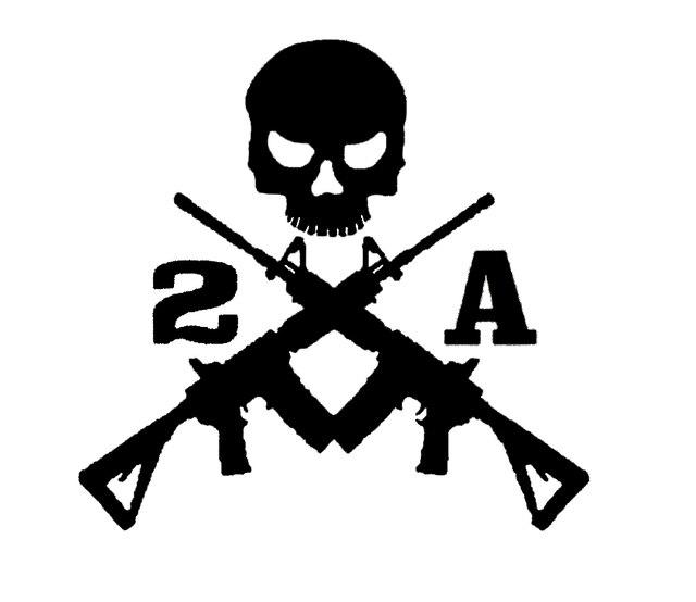 2a horrible Skull Spear Gun Assault Rifle Sticker For Car