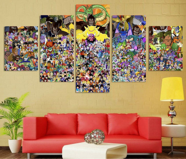 5 panel animal poster HD printed oil painting Lion king canvas print ...