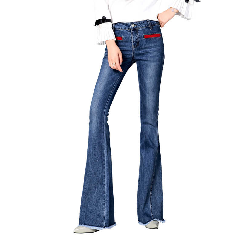 0bdd05d1653681 High quality Women's slim High waist boot cut jeans fashion bell bottom  trousers comfortable flares pants