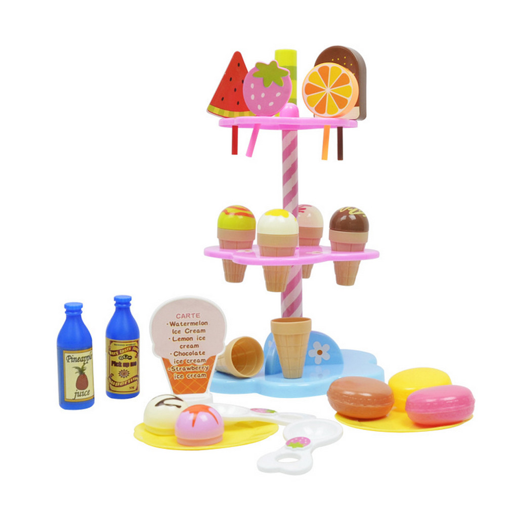 Pretend Play Toys Set Candy Sweet Novelty Interesting Toys Treats Ice Cream Trolley Shop Baby Emulated Gift drop shipping 30S873