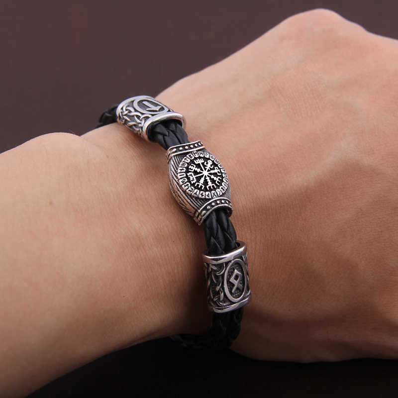 Amulette nordique Runes runiques perles Talisman Valknut végétvisir boussole trinité symboles Viking Bracelet hommes femmes Vikingos bijoux