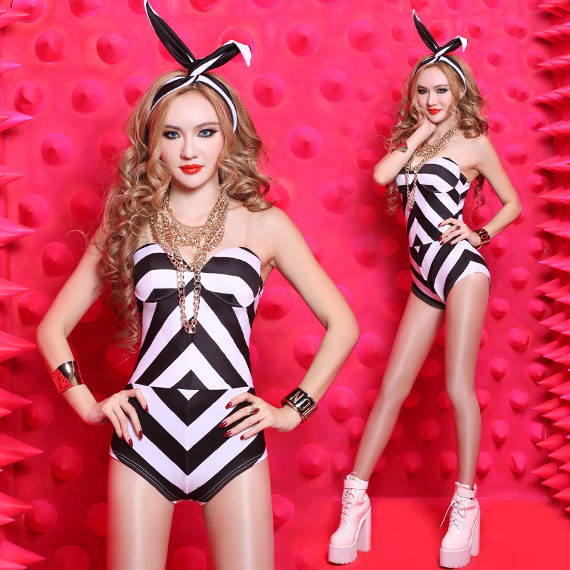 <font><b>2017</b></font> Real <font><b>Sexy</b></font> Girl <font><b>Ds</b></font> Costume Stripe Dj Female Singer <font><b>Dance</b></font> Jazz Hip-hop Clothing <font><b>Bar</b></font> Dancer Costumes Freeshipping image