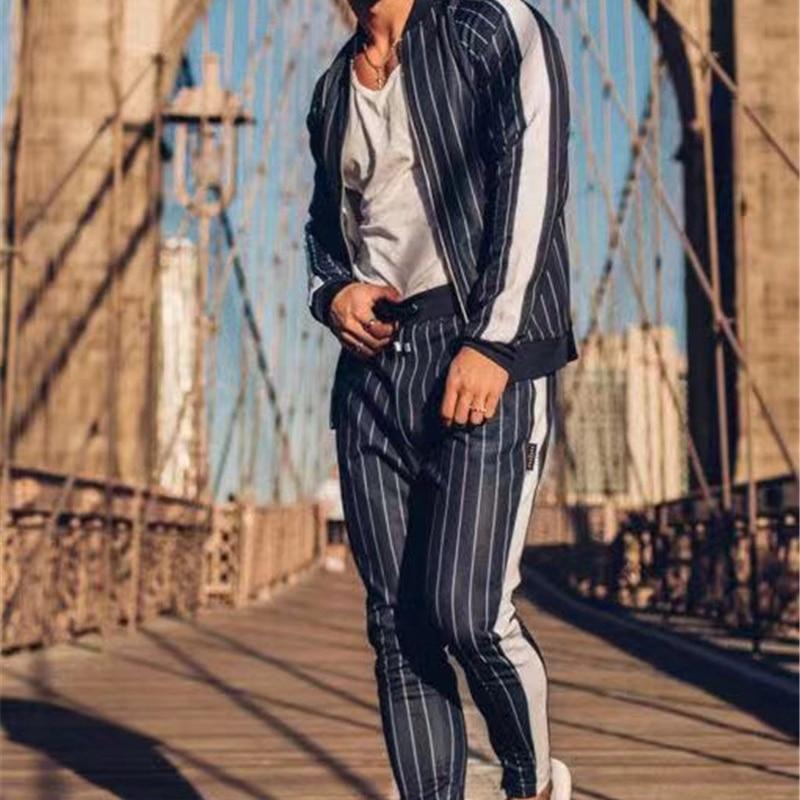 GYMOHYEAH tout nouveau automne décontracté hommes ensembles mode mâle Zipper sweat + pantalon survêtement à la mode cordon Sportwear Setu - 5