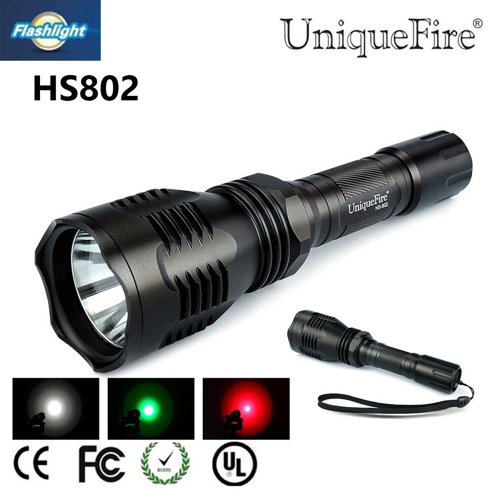 Πολύχρωμο φακός LED Uniquefire HS-802 XRE Πράσινο / κόκκινο φως κυνηγιού για επαναφορτιζόμενη μπαταρία 18650 για κατασκήνωση