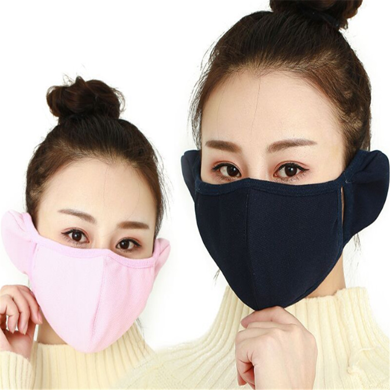 Two In One Fashion Pure Cotton Pure Color Ear Protectors Masks Winter Men And Women Riding And Keeping Warm And Dustproof