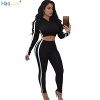 HAOYUAN Two Piece Set Womens Tracksuit 2018 Autumn Winter Side Striped Hooded Top And Pant Casual