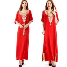 Long sleeve long Dress maxi muslim dress islamic kaftan abaya plus size women clothing big size dress vintage embroidery tunic