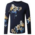 2017 primavera novo estilo de moda masculina de lazer Impressão camisola projeto Dos Homens de alta qualidade de manga longa blusas Frete grátis