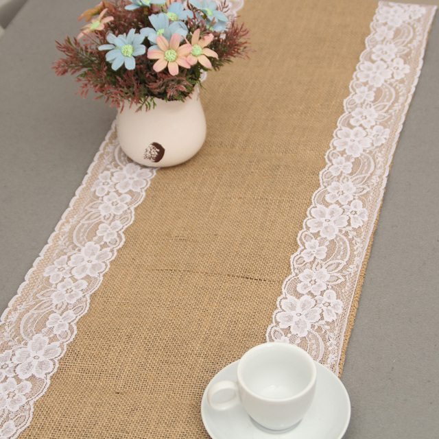 burlap lace wedding table runner jute burlap table runner for home ...