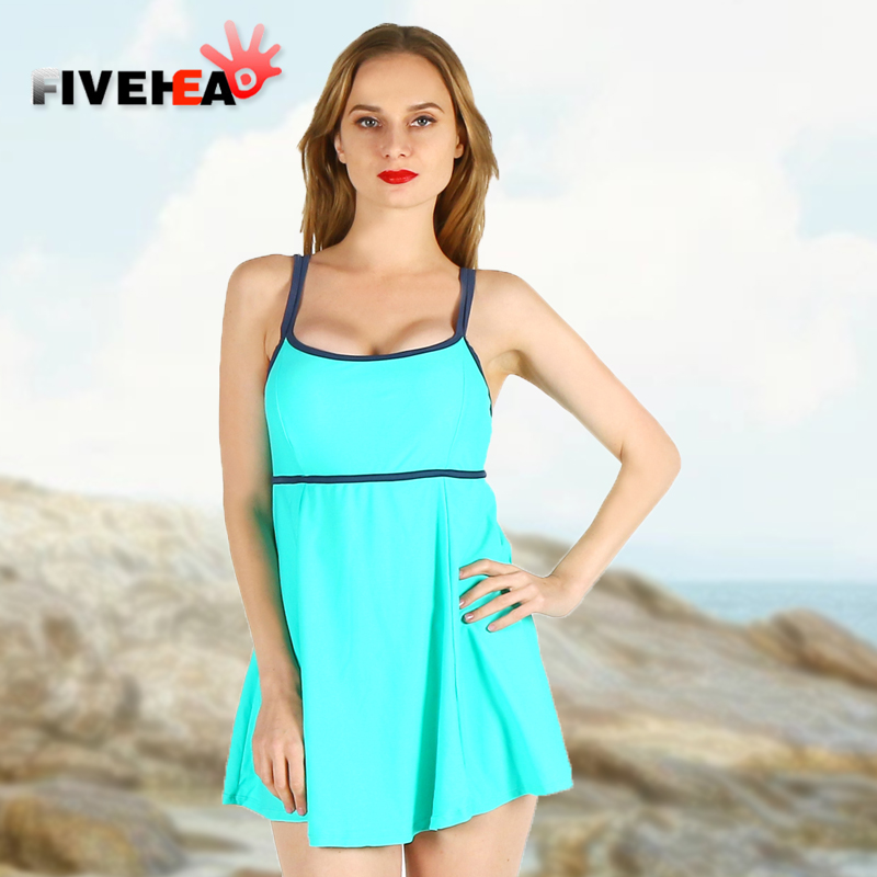 one-piece women swimwear sexy sling solid color halter striped large size big bust bathing swimsuit push up swimdress female trendy solid color halter pleated one piece skirt swimwear for women