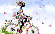 anime cartoon abstract bicycle legs girls color flowers insects butterfly sky clouds spring Home Decoration Canvas Poster Prints