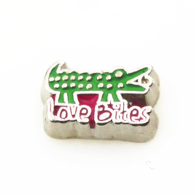 20pcs/lot Love Bites crocodile Floating Charms Living Glass Memory Lockets DIY Jewelry Charms Wholesale Floating Lockets Charms