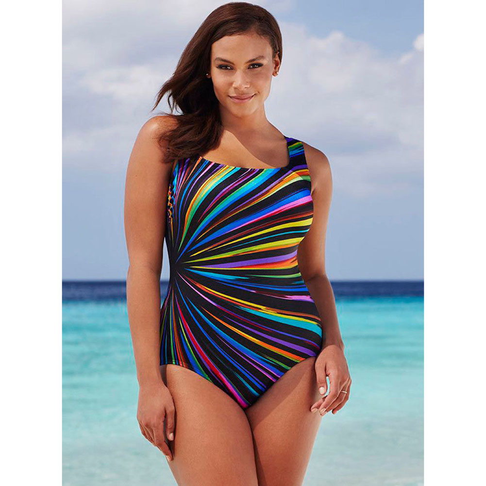 2017 Plus Size Women Backless Crossed One Piece Thong Swimsuit Beathing Suit Bikini Big Stripe Print Padded Bodysuit SwimWear plus size halter backless one piece swimsuit