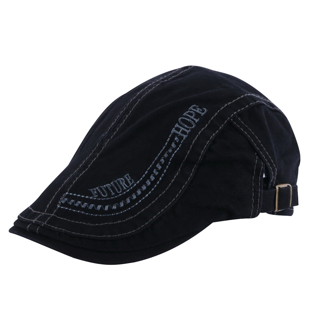 new men fashion berets simple embroidery letter solid color casual cap 58CM size adjustable adult man boy cotton beret