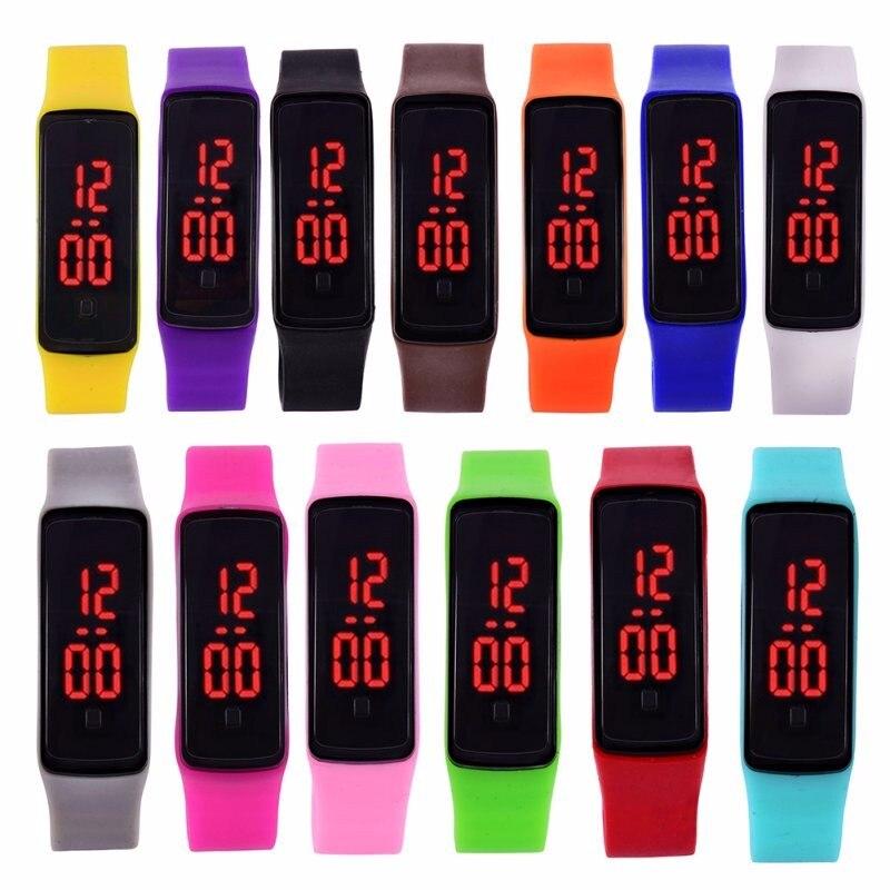Bracelet Watches Clock Sports-Wristwatch Digital Women's Date Rubber for Student 13pcs/Lots
