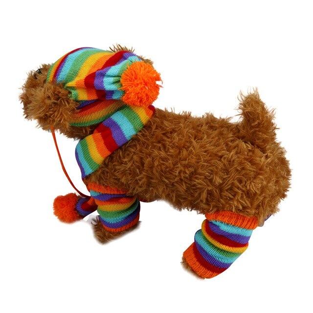 2016 new designed 6Pc/Set Dog Pet Puppy Hat Scarf Leg Warmer Pet Clothes High Quailty Small Dog Winter Pet Dog Clothes Wear
