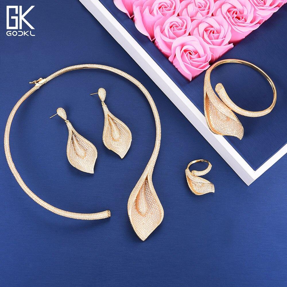GODKI Luxury Flowers Necklace Earring Sets Cubic Zircon jewelry Sets for women Wedding African Dubai Indian