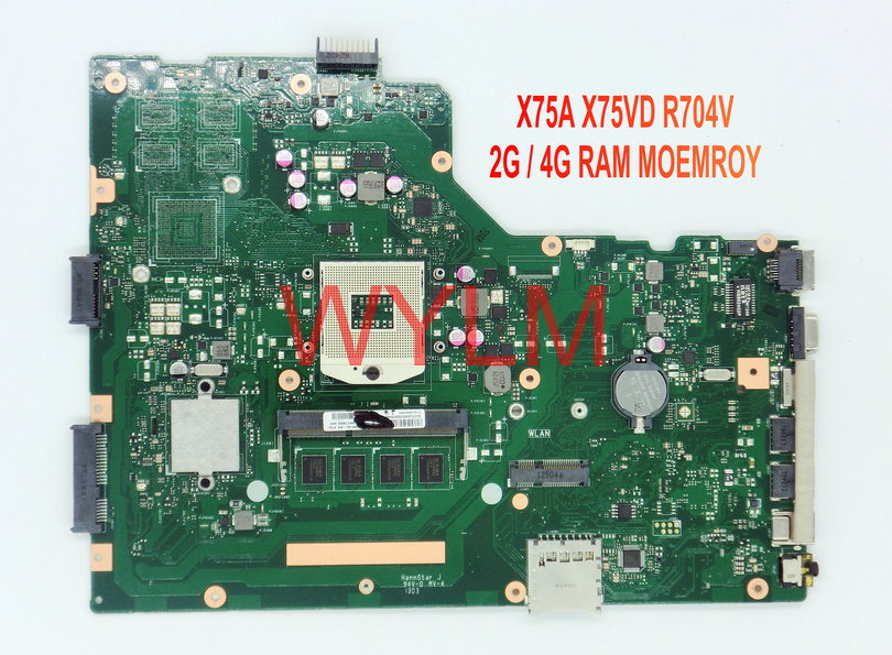 free shipping original R704V X75A X75VD laptop motherboard MAIN BOARD mainboard 2G 4G RAM memory 100% Tested Working free shipping original p500ca laptop motherboard main board mainboard rev 2 0 4gb ram sr0xl i5 3337 cpu 100