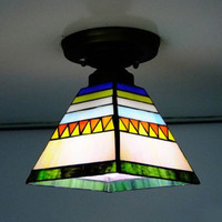 Flush Mount Tiffany Ceiling Light Stained Glass Lampshade Spanish Style Indoor Lighting E27 110 240V
