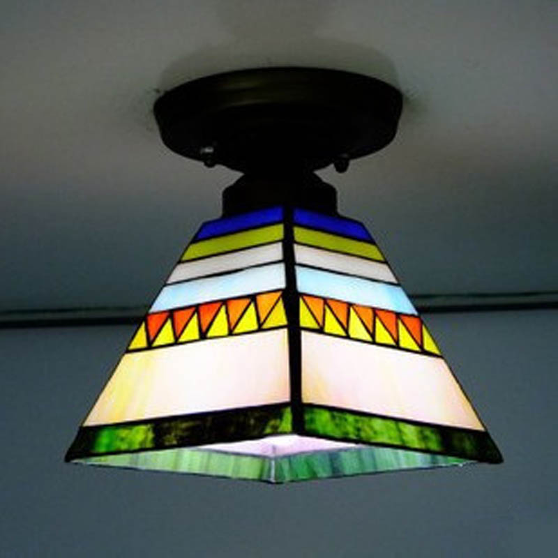 Flush Mount Tiffany Ceiling Light Stained Glass Lampshade Spanish Style Indoor Lighting E27 110-240VFlush Mount Tiffany Ceiling Light Stained Glass Lampshade Spanish Style Indoor Lighting E27 110-240V