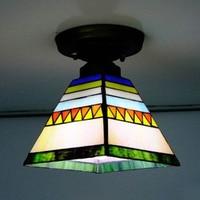 Flush Mount Tiffany Ceiling Light Stained Glass Lampshade Spanish Style Indoor Lighting E27 110 240V