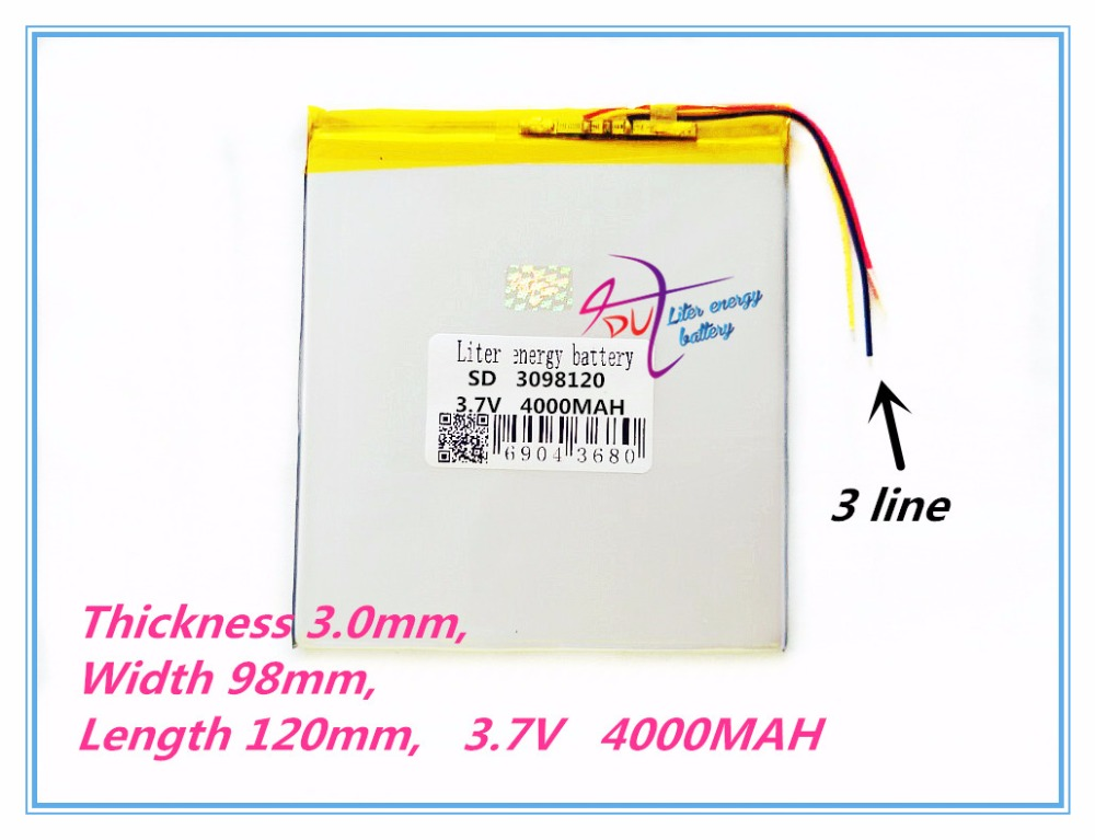 3 line 3098120 Tablet PC battery capacity 30100120 3.7V 4000mA Universal Li-ion battery for tablet pc 7 inch 8 inch 9inch 10inch hbt3570100 universal 3 7v 3000mah built in battery for 7 8 9 10 10 1 tablet pc silver