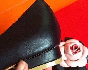 Image 3 - Zapatos planos con punta en pico para mujer, zapatillas femeninas de cuero genuino, con forro de flores, zapatos planos, calzado femenino de otoño, Scarpe Donna, 2019